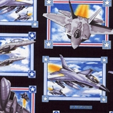 Picture of Military Salute Air Force Fighter Jets Squares on Black Cotton Fabric