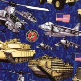 Picture of Military Salute Marines Tanks Helicopters Planes Cotton Fabric