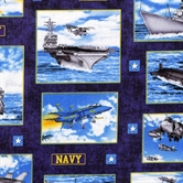 Picture of Military Salute Navy Carriers Submarines Squares Blue Cotton Fabric