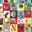 Picture of Home to Roost Farm Animals and Fruit in Blocks Cotton Fabric