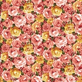 Picture of Packed Roses Pink and Yellow on Gold Cotton Fabric