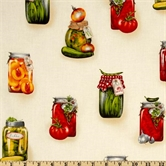 Picture of Kiss the Cook Jars on White Cotton Fabric