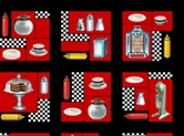 Picture of Today's Special Diner Things in Squares Cotton Fabric