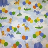 Picture of Balloon Safari Cute Animals Floating with Balloons Cotton Fabric