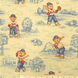 Picture of Blue Jean Teddy Bear Batter Up Baseball Cotton Fabric