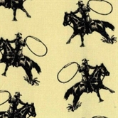 Picture of Rodeo Roper Horses and Cowboys with Lassos on Beige Cotton Fabric