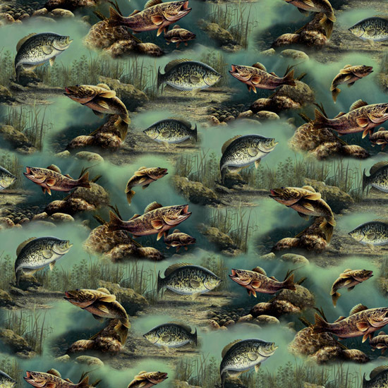 Cotton fabric animal fabric sports fisherman hautman for Fishing themed fabric