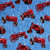 Picture of Farmall Tractors and Logos on Blue Denim-Look Cotton fabric