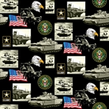 Picture of Military Army Scenes and Logos in Squares Cotton Fabric