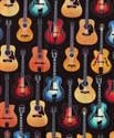 Picture of Acoustic Guitars Colorful on Black Cotton Fabric