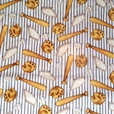 Picture of Billy Bear at Bat Baseball Equipment on Stripes Cotton Fabric