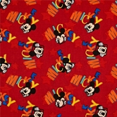Picture of Disney Mickey Out to Play Mickey Mouse Peeking on Red Cotton Fabric
