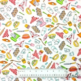 Picture of Bake Baking Ingredients and Utensils Muffins on White Cotton Fabric