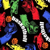 Picture of Anything Goes - Colorful Basketball Players on Black Cotton Fabric