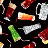 Picture of Got Munchies - Ice Cold Soda Beverages on Black Cotton Fabric