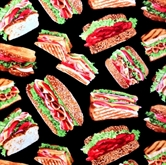 Picture of Got Munchies Hero Sandwiches on Black Cotton Fabric