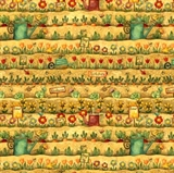 Picture of Farmville Vegetable Garden Plants and Rows Cotton Fabric