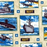 Picture of Military Salute Navy Scenes in Squares on Beige Cotton Fabric