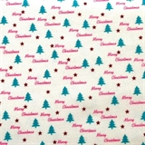 Picture of A Christmas Story Merry Christmas Tiny Trees on White Cotton Fabric