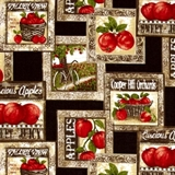 Picture of Apple Picking Time Scene Squares Cooper Hill Orchards Cotton Fabric