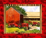 Picture of IH Farmall 3 Vintage Tractors and Barn Cotton Fabric Pillow Panel