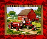 Picture of IH Farmall Vintage Tractors and Advertising Barn Fabric Pillow Panel