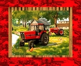 Picture of IH Farmall 2 Vintage Tractors and House Cotton Fabric Pillow Panel