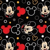 Picture of Disney Mickey Head Toss Mickey Mouse Head Outline Black Cotton Fabric