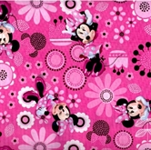 Picture of Disney Minnie Mouse Dots and Flowers on Pink Cotton Fabric
