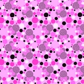 Picture of Disney Minnie Mouse Dots Silhouettes Polka Dots on Pink Cotton Fabric
