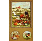Picture of Autumn Bounty Fall Puppy and Roosters 24x44 Large Cotton Fabric Panel