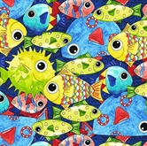 Picture of Under The Sea Packed Colorful Fish Collage Indigo Blue Cotton Fabric