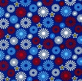 Picture of Salute to Summer Patriotic Pinwheels Stars on Blue Cotton Fabric