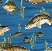 Picture of On the Lake Fish in Blue Water Fishing Cotton Fabric