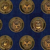 Picture of American Heroes Military Seals on Navy Blue Patriotic Cotton Fabric
