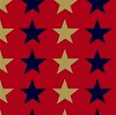 Picture of Quilts of Valor Gold Metallic and Navy Blue Stars Red Cotton Fabric