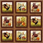 Picture of Autumn Bounty Kitten and Rooster Scene 12x44 Strip Cotton Fabric