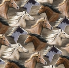 Picture of Running Wild Packed Horses Brown and White Horse Heads Cotton Fabric
