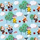 Picture of Disney Classic Tales 7 Dwarfs Animated Blue Cotton Fabric