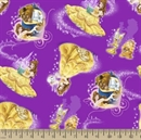 Picture of Disney Beauty and the Beast Belle Character Toss Purple Cotton Fabric