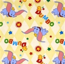 Picture of Disney Dumbo the Elephant Flying on Yellow Cotton Fabric