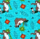 Picture of Disney Jungle Books Character Toss Baloo Aqua Cotton Fabric