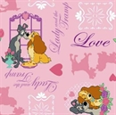 Picture of Disney Lady and the Tramp Pink Cotton Fabric