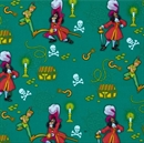 Picture of Disney Captain Hook and Peter Pan Animated on Green Cotton Fabric