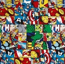 Picture of Marvel Comic Patch Captain America Superhero Squares Cotton Fabric