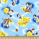 Picture of Disney Snow White Animal Friends Prince Charming Blue Cotton Fabric