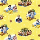 Picture of Disney Snow White with 7 Dwarfs Scenes on Yellow Cotton Fabric