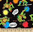Picture of Teenage Mutant Ninja Turtle Pizza Toss Black Cotton Fabric