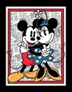 Picture of Disney Vintage Mickey and Minnie Mouse Newspaper Large Fabric Panel