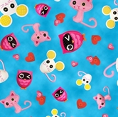 Picture of Cute As A Button Lalaloopsy Animal Toss on Blue Cotton Fabric